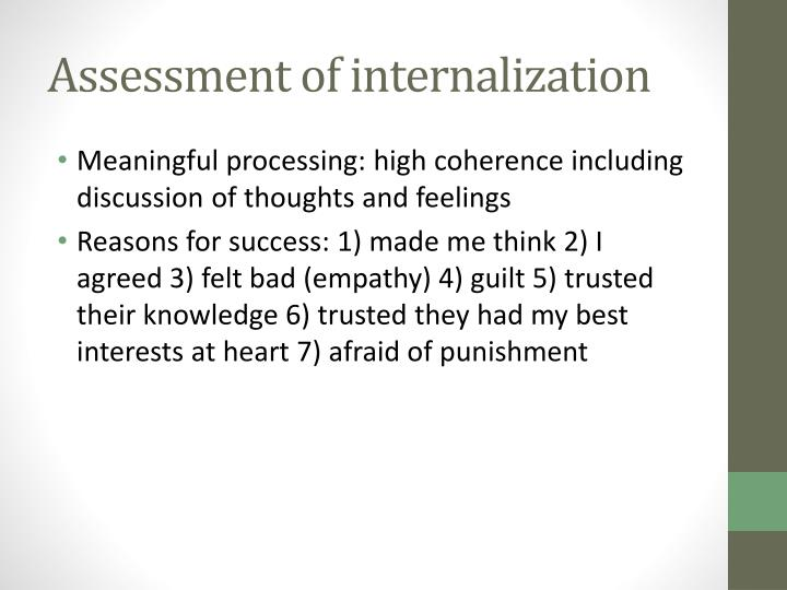 Assessment of internalization