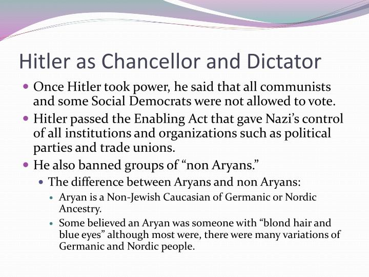 Hitler as Chancellor and Dictator