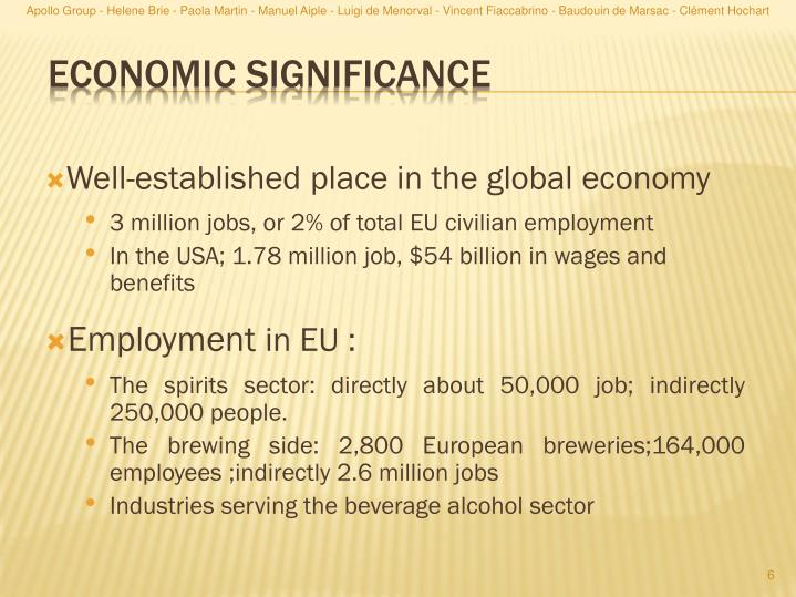 Well-established place in the global economy