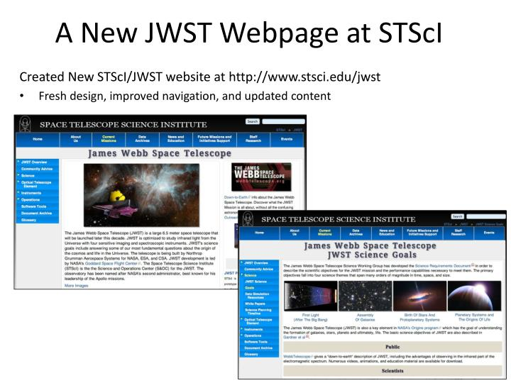 A New JWST Webpage at STScI