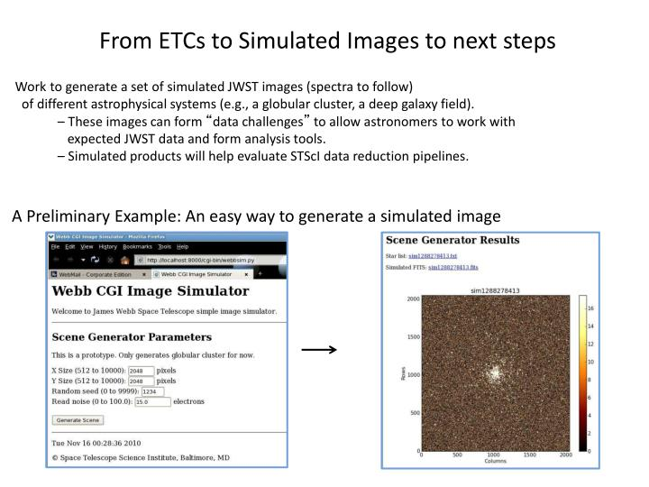 From ETCs to Simulated Images to next steps