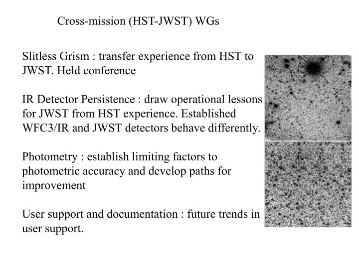 Cross-mission (HST-JWST) WGs