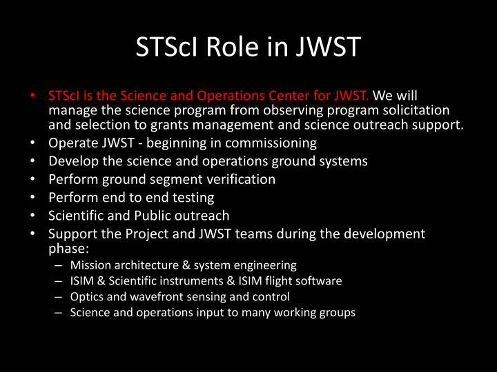 STScI Role in JWST