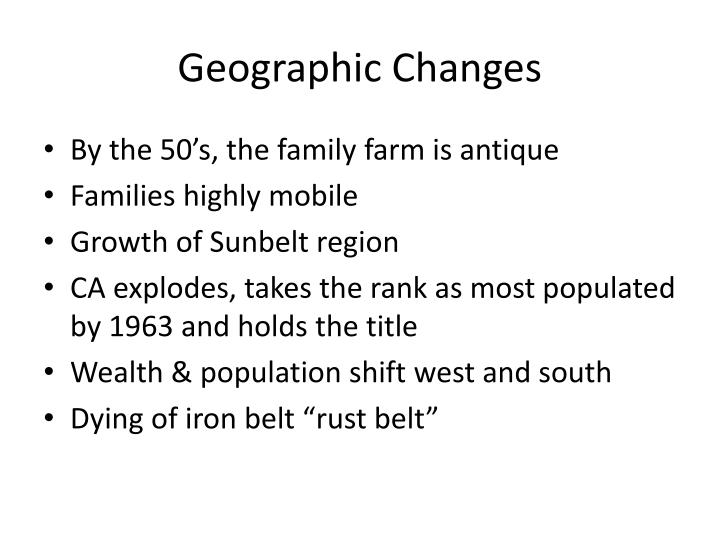 Geographic Changes