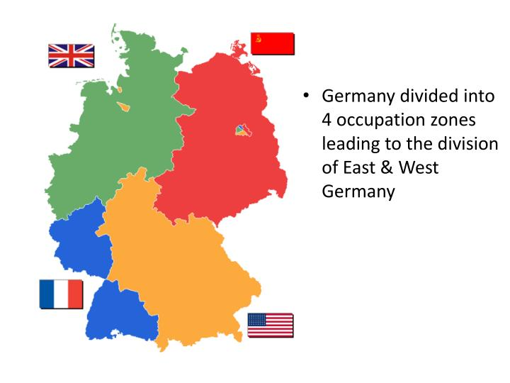 Germany divided into 4 occupation zones leading to the division of East & West Germany