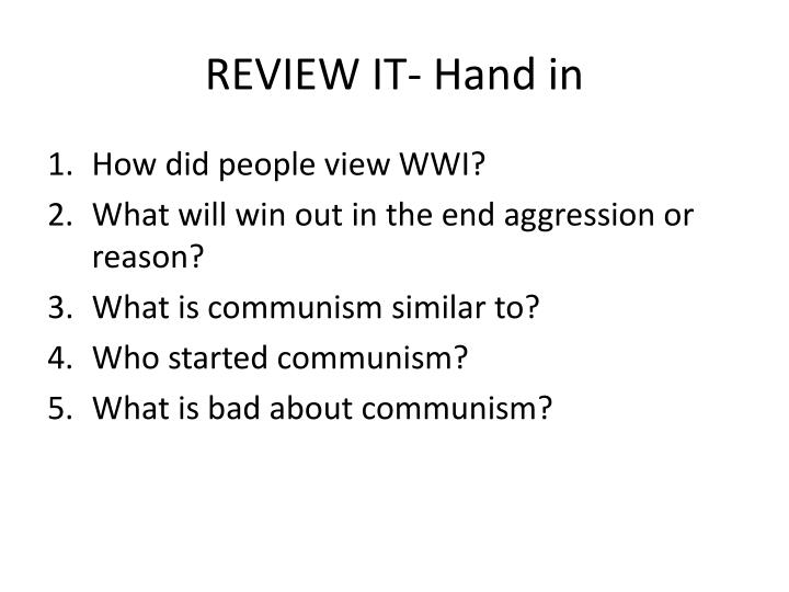 REVIEW IT- Hand in