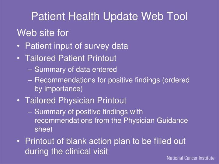 Patient Health Update Web Tool