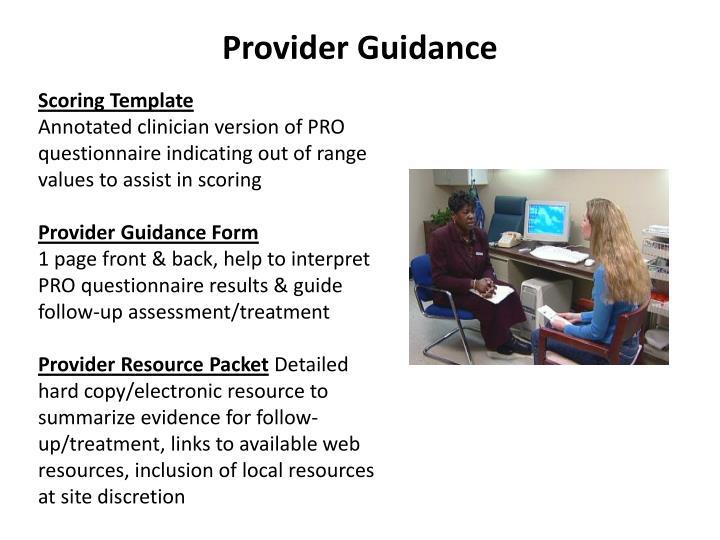 Provider Guidance