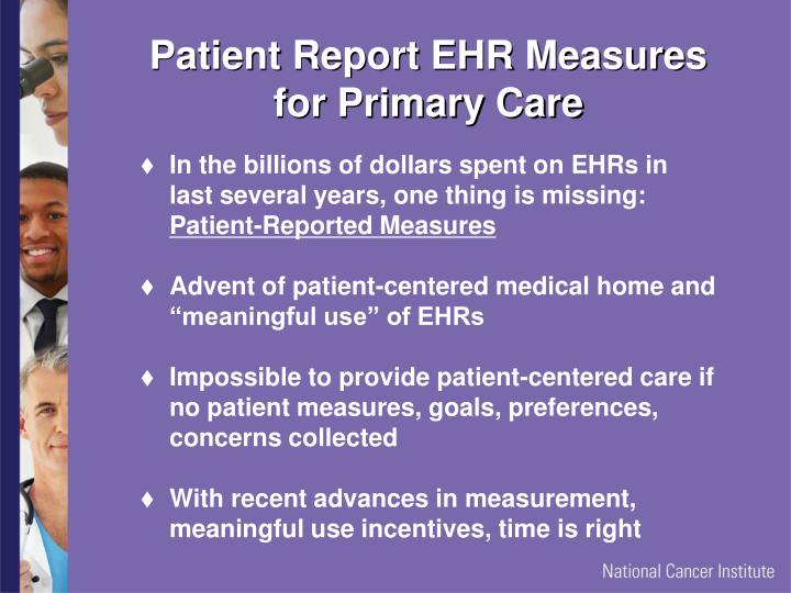 Patient Report EHR Measures for Primary Care