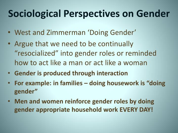 doing gender west and zimmerman essays Doing gender west and zimmerman summary doing gender article • 1960s, 1970s- sex: ascribed to biology by anatomy, hormones and physiology gender: achieved status.