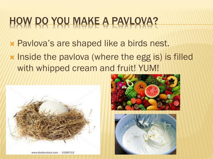 Pavlova's are shaped like a birds nest.