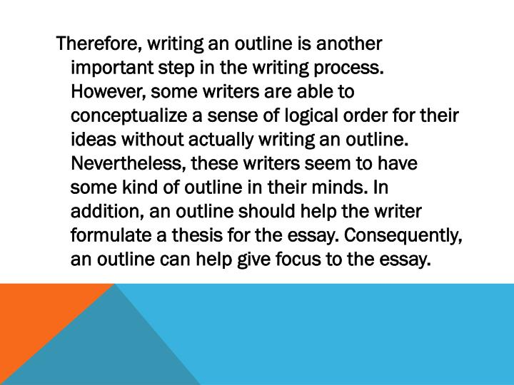 Therefore, writing an outline is another important step in the writing process. However, some writers are able to conceptualize a sense of logical order for their ideas without actually writing an outline. Nevertheless, these writers seem to have some kind of outline in their minds. In addition, an outline should help the writer formulate a thesis for the essay. Consequently, an outline can help give focus to the essay.