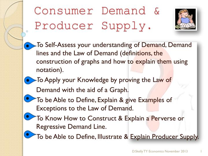 Consumer demand producer supply