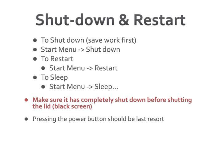 Shut-down & Restart