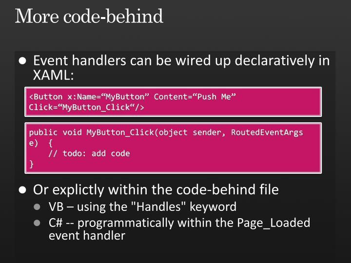 More code-behind