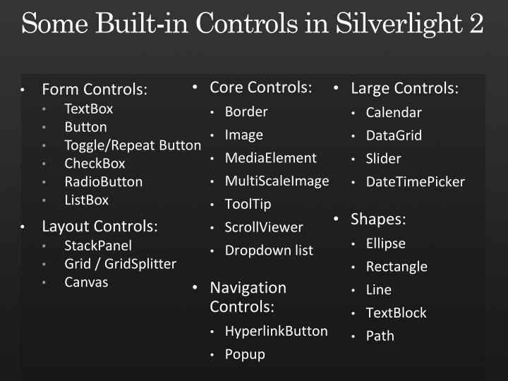 Some Built-in Controls in Silverlight 2