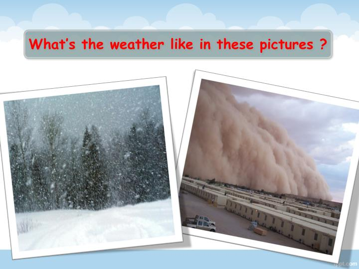 What's the weather like in these pictures ?