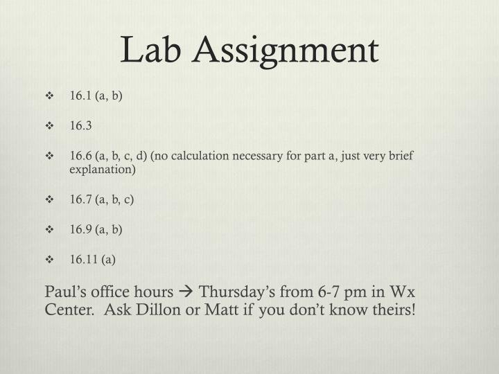 Lab Assignment