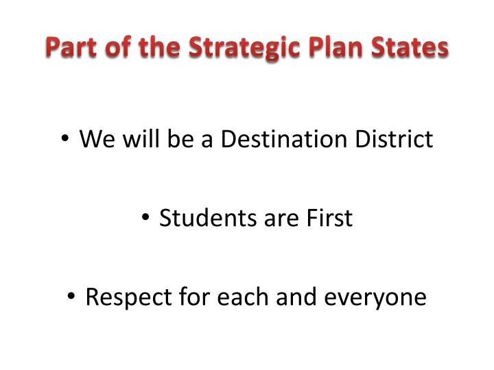 Part of the Strategic Plan States