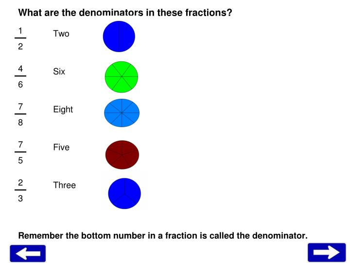 What are the denominators in these fractions