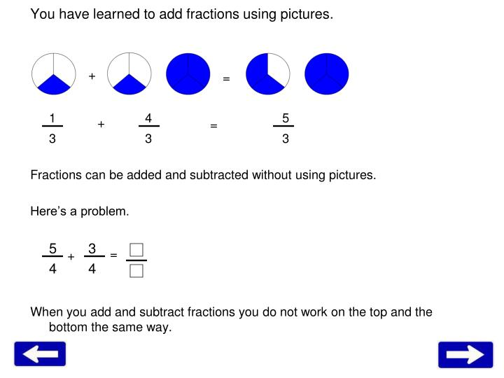 You have learned to add fractions using pictures.