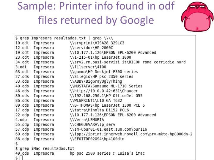 Sample: Printer info found in