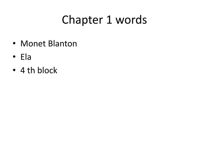 Chapter 1 words