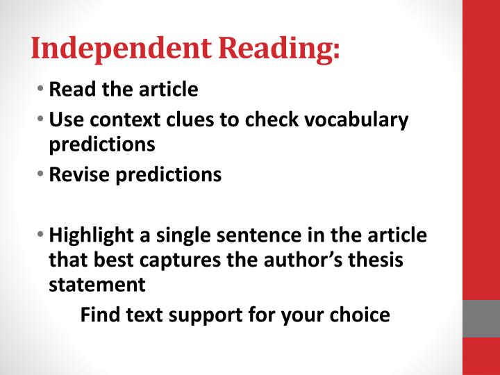Independent Reading: