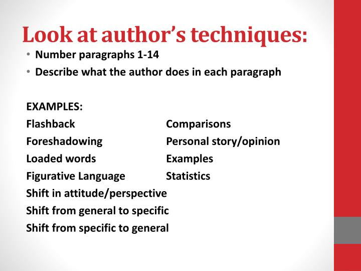 Look at author's techniques: