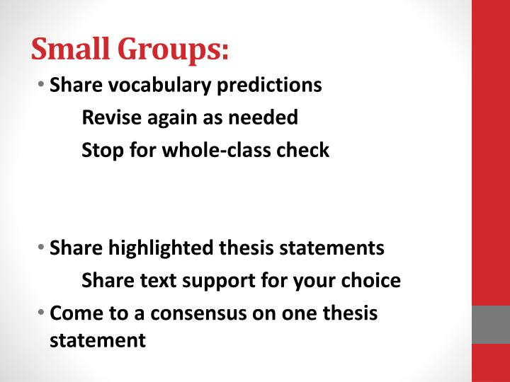Small Groups: