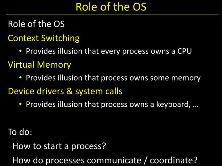 Role of the OS