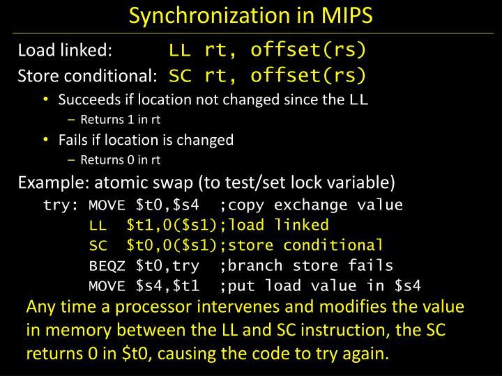 Synchronization in MIPS