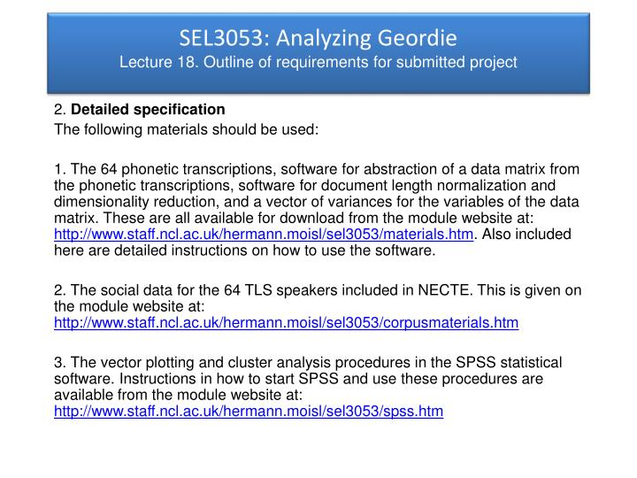 SEL3053: Analyzing Geordie
