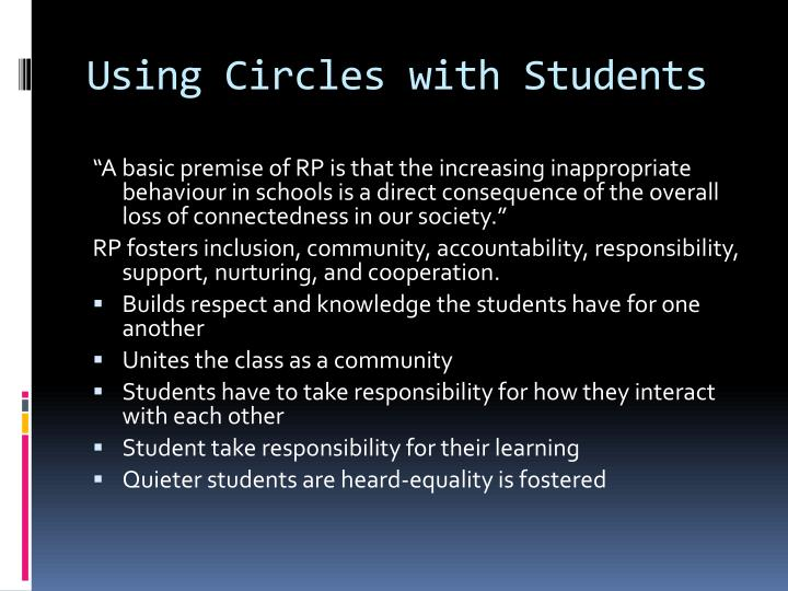 Using Circles with Students