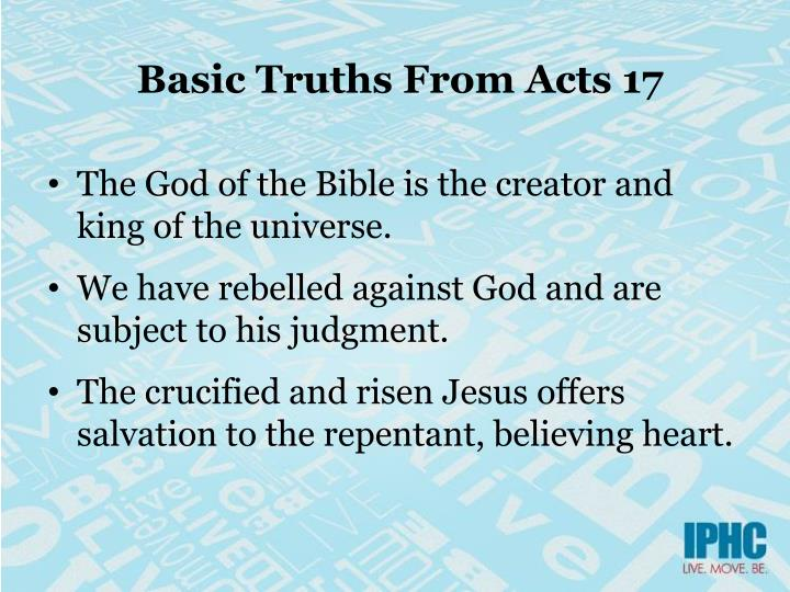 Basic Truths From Acts 17