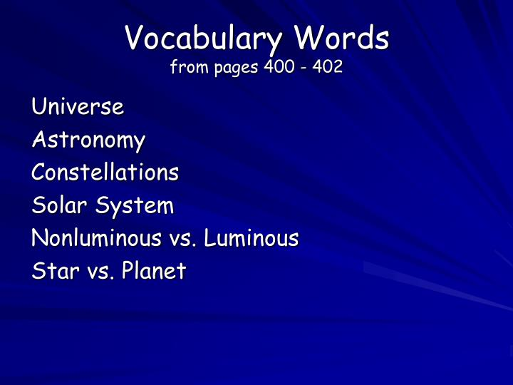 Vocabulary words from pages 400 402