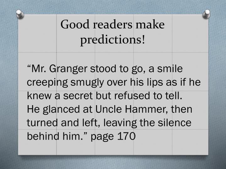 Good readers make predictions!