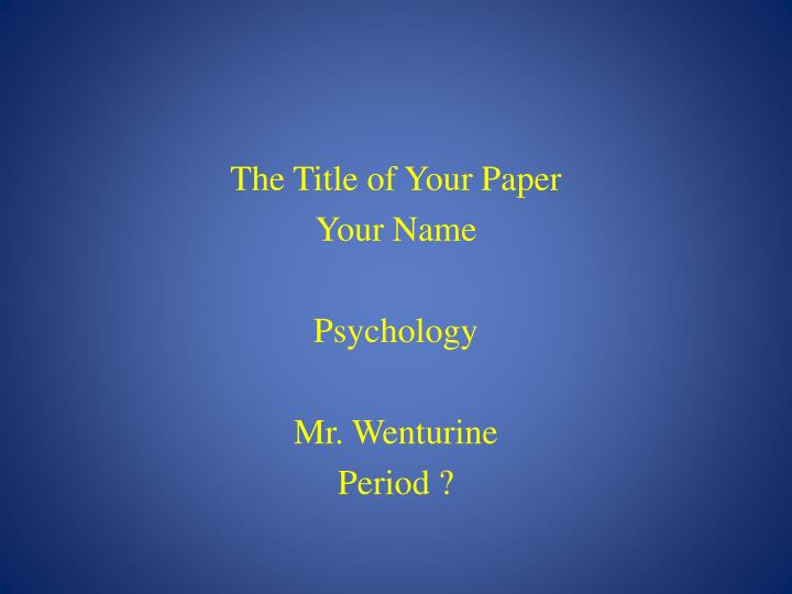 The Title of Your Paper