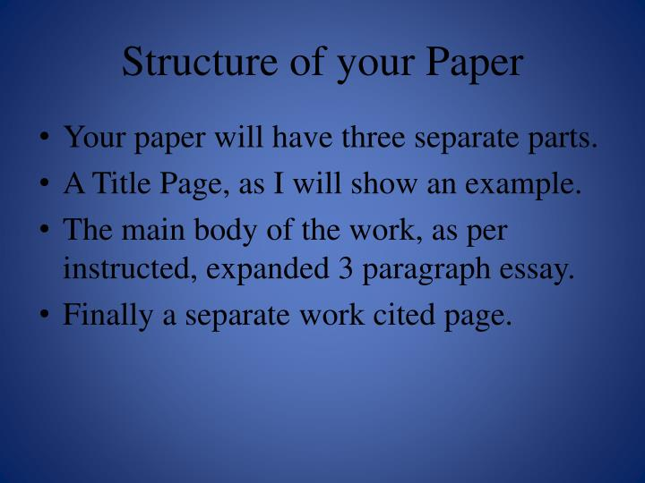 Structure of your Paper