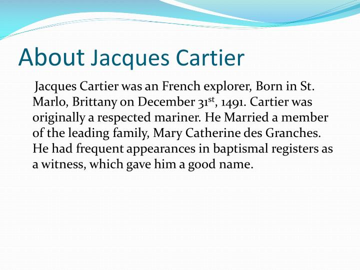 About jacques cartier