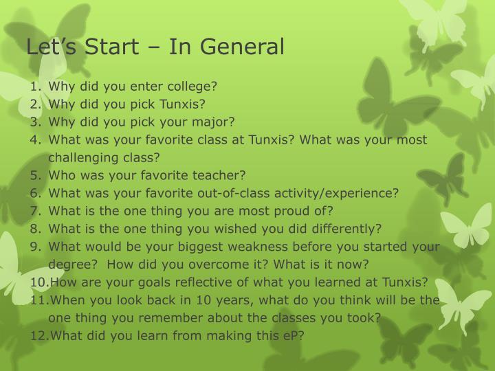 Let's Start – In General