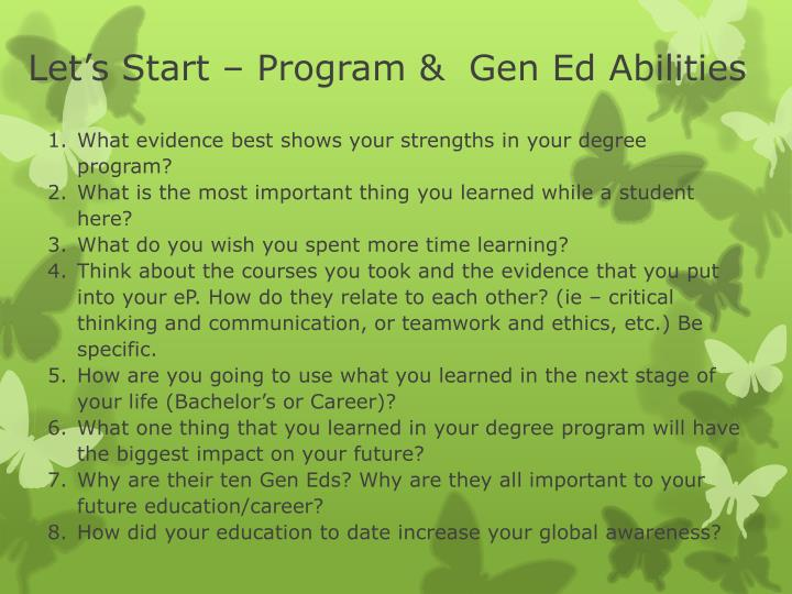 Let's Start – Program &  Gen Ed Abilities