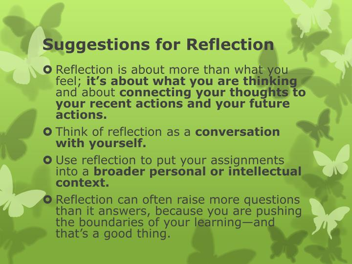 Suggestions for reflection