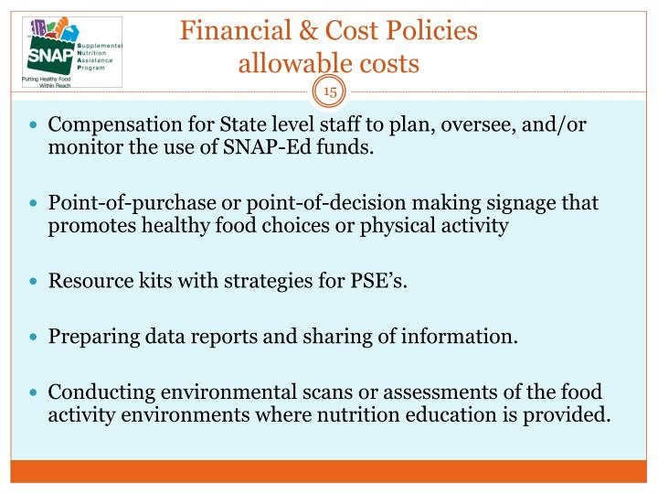 Financial & Cost Policies