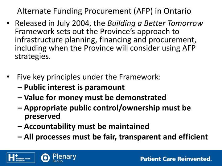 Alternate Funding Procurement (AFP