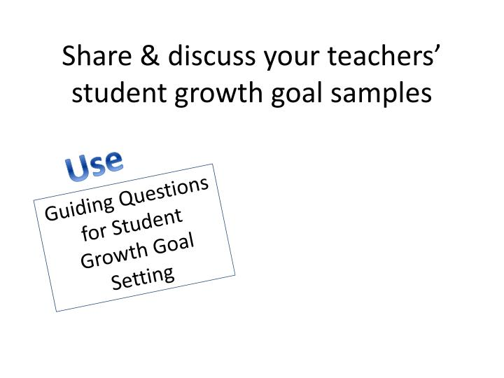 Share & discuss your teachers' student growth goal samples