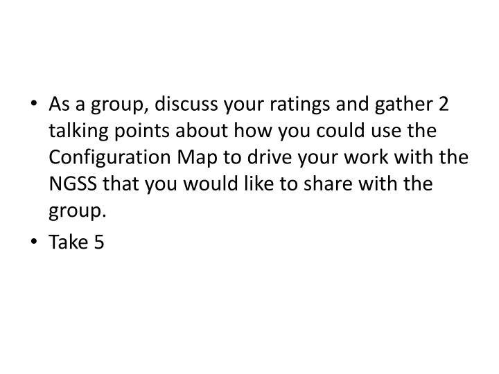 As a group, discuss your ratings and gather 2 talking points about how you could use the Configuration Map to drive your work with the NGSS that you would like to share with the group.