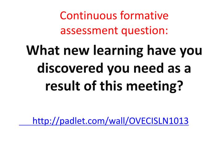 Continuous formative           assessment question: