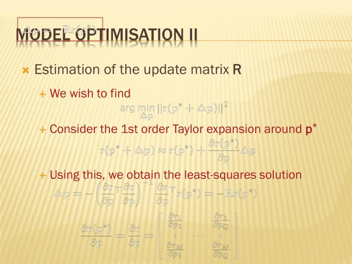 Model optimisation II
