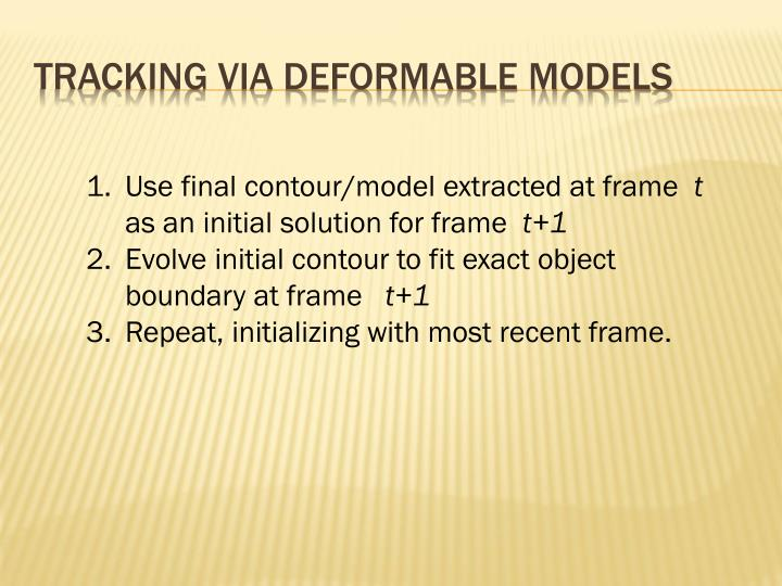 Tracking via deformable models